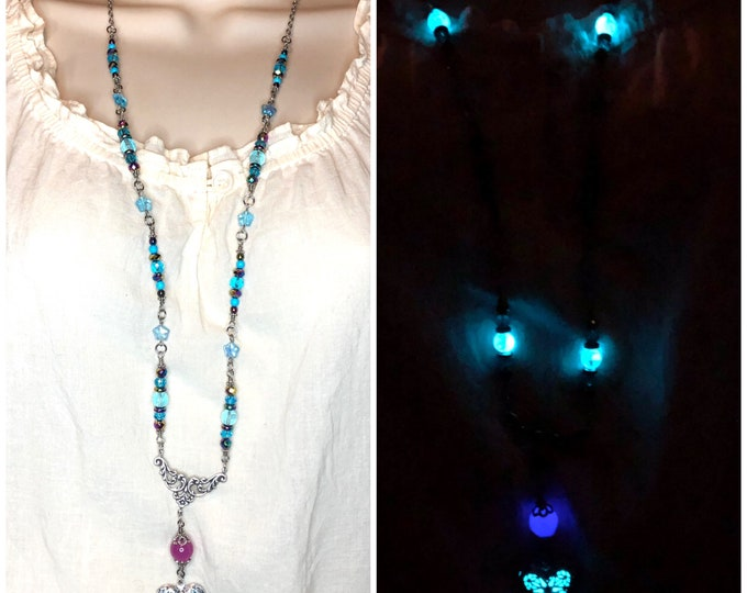 Long Beaded Glow Locket Heart Necklace Blue Aqua and Violet Glow