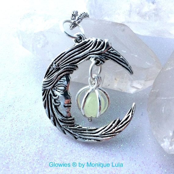 Crescent Moon With Caged Orb Glow Locket in Bronze or Silver
