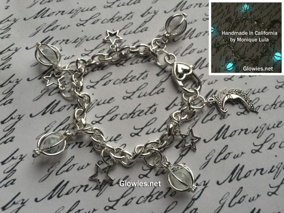 Moon and Stars Glowing Galaxy Link Charm Bracelet