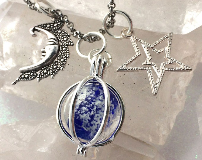 Moon & Stars Glowing Orb Necklace