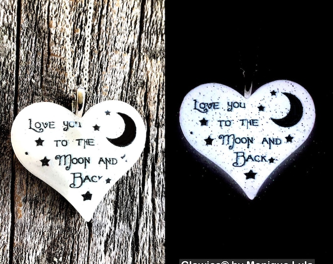 Love You To The Moon and Back Lula Heart Glowie Necklace