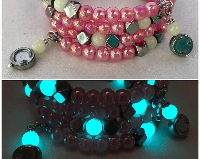 Pink Beaded Wrap Bracelet