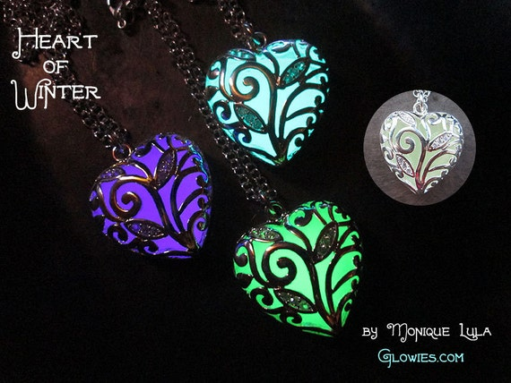 Glowing Heart Necklace, Heart of Winter, Frozen Forest, Glow in the Dark Necklace Magic Fairy Crystal Light Pendant Silver Jewelry Fantasy