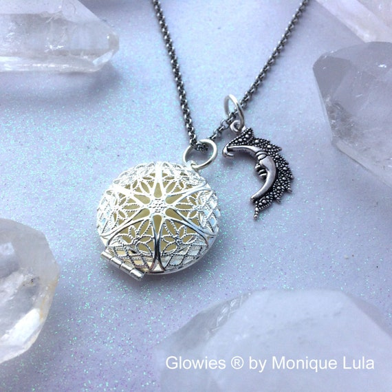Moon Gazer Glowing Locket Necklace with Crescent Moon Charm