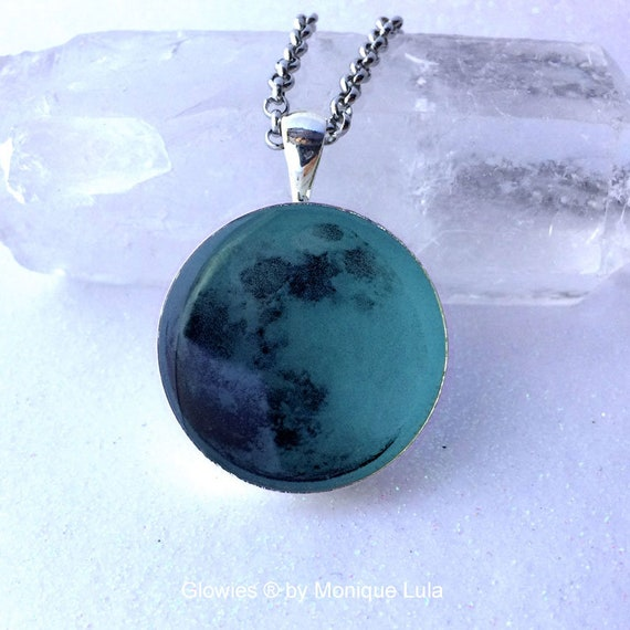 Blue Glowing Moon, Full Moon Necklace, Magic Necklace Glow in the Dark Luna Celestial Space Galaxy Pendant Glowies Light Handmade Jewelry