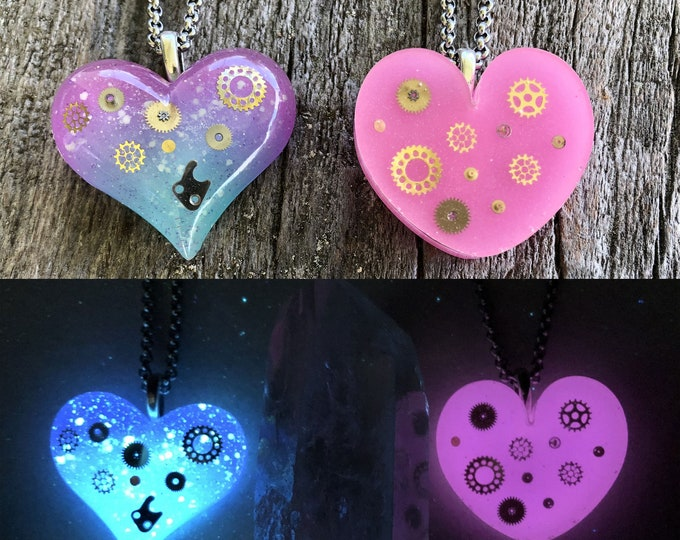 Steampunk Glow in the dark Heart with Watch Parts Inside Pendant