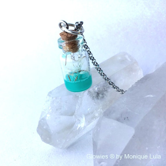Dandelion Wisp Wish Jar Potion Glow in the dark Necklace Magic Nature Jewelry