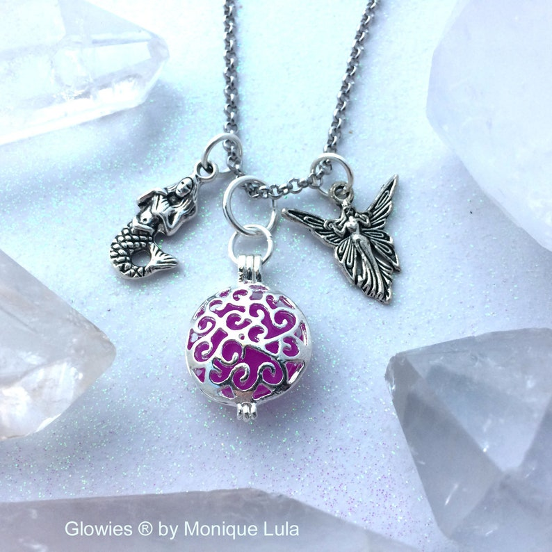 Violet Purple Pixie and Mermaid Magic Glow Locket\u00ae Necklace