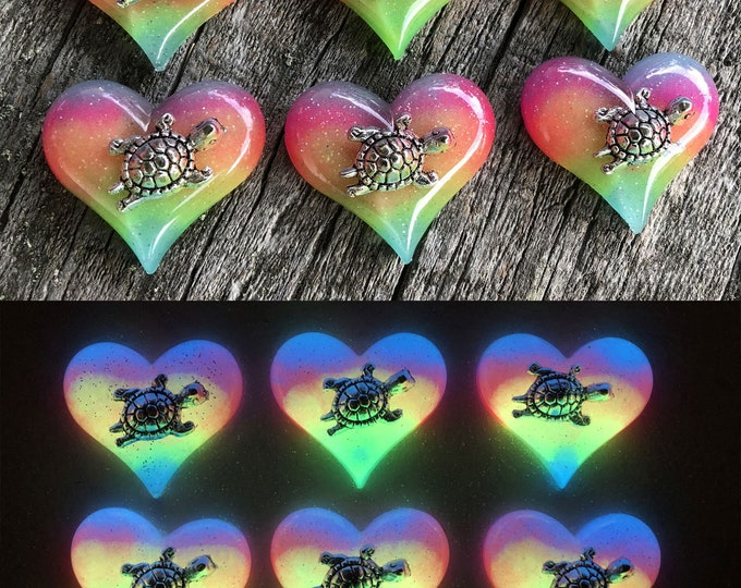 Heart with Turtle Glow in the dark Necklace