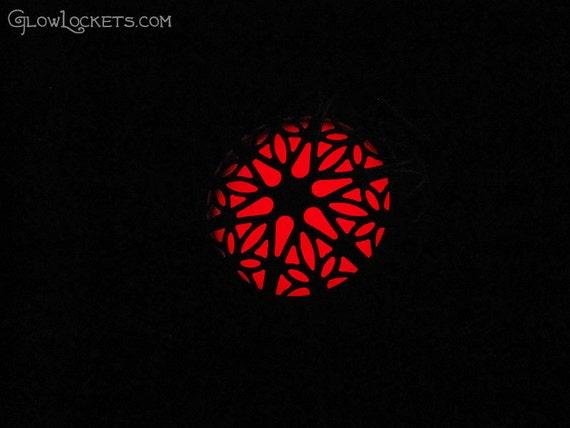 Mystic Fire Glow Red Locket Antiqued Brass Filigree