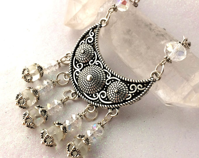 Boho Chic Crescent Moon Crystal Glow Necklace