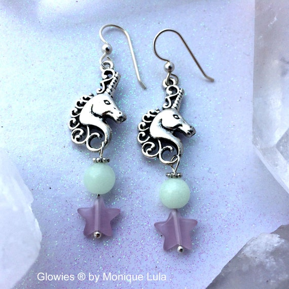 Unicorn Earrings Sterling Silver Glowing Beaded Cats Eye Stars Magical Handmade Glow in the Dark Jewelry Glowies Shiny Blue Lights for Ears