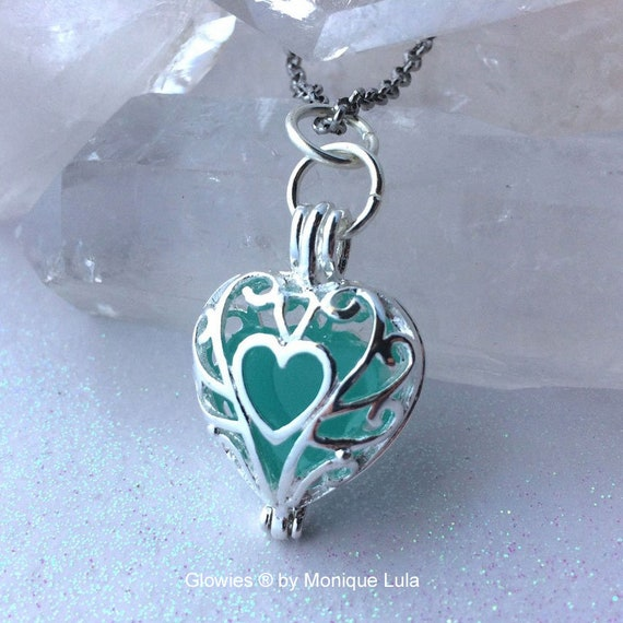Frozen Glowing Heart necklace, Glow Jewelry, Glow Necklace, Heart of Glow Pendant, Glow in the Dark Glowies by Monique Lula, Magical Mystic