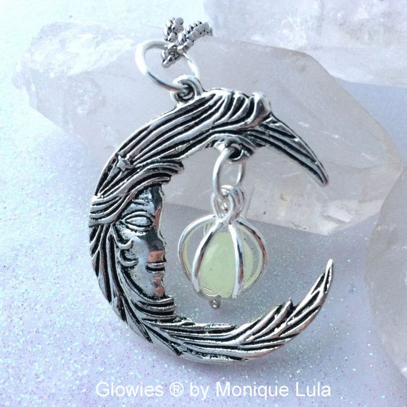 Glowing Crescent Moon Face Necklace Silver