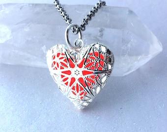Red Heart Glow Locket Silver