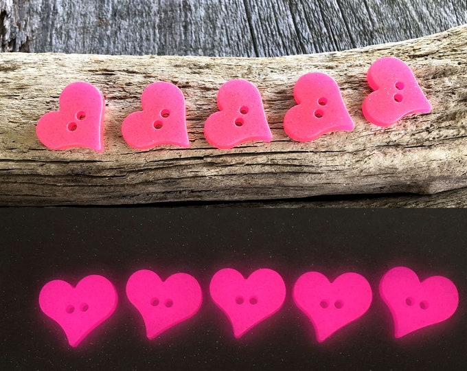 Glow in the dark Heart Buttons