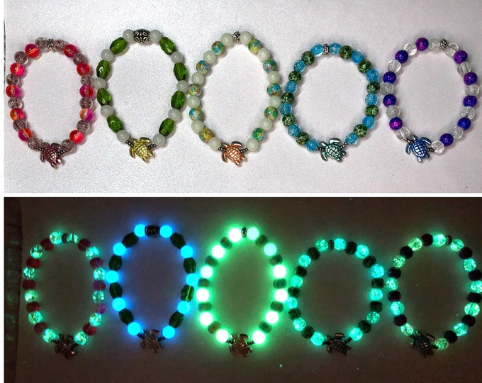 Glow in the Dark Beaded Sea Turtle Bracelets