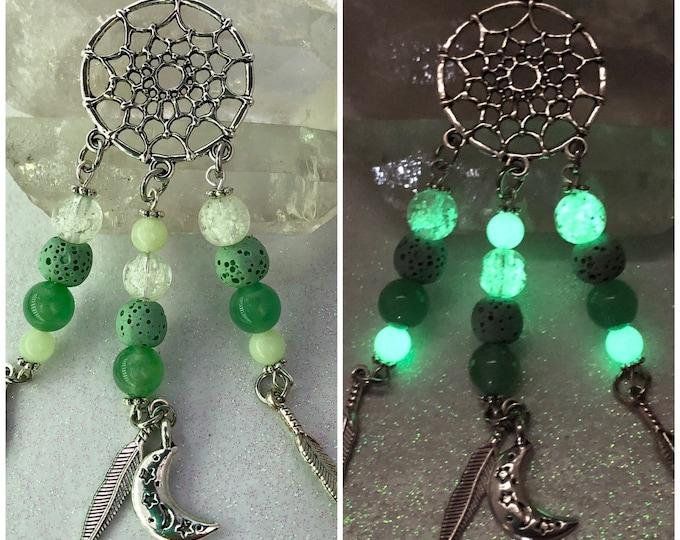 Dreamcatcher Necklace Green Aventurine Lava