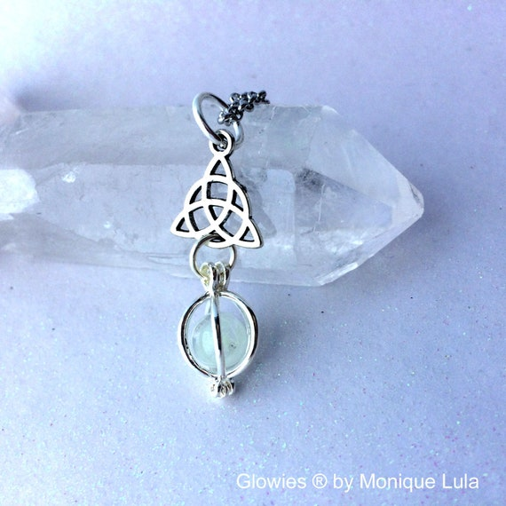 Triquetra Glowing Orb Necklace Glow Locket with Free UV Light Charger