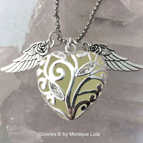 Aqua Flying Rose Wing Glowing Heart of Winter Necklace
