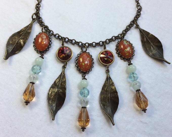 Autumn Fire Statement Necklace / Orange Opal / Glow in the Dark / Leaf Jewelry / Teardrop Crystals / Topaz Beads / Swarovski Rivolis