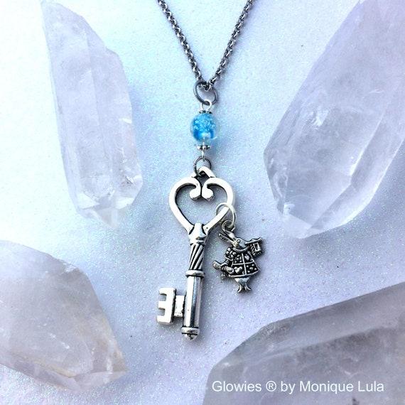 White Rabbit Key Orb Glow Locket Pendant Necklace