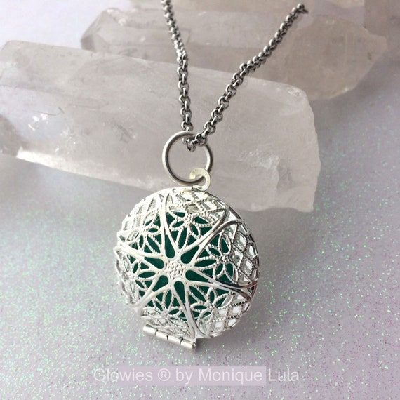 Aqua Mystic Glow Locket Silver Plated Filigree