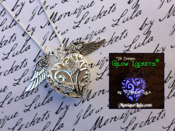 Violet Flying Rose Wing Glowing Heart of Winter Necklace