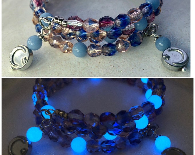 Pink and Blue Glass Beaded Bracelet