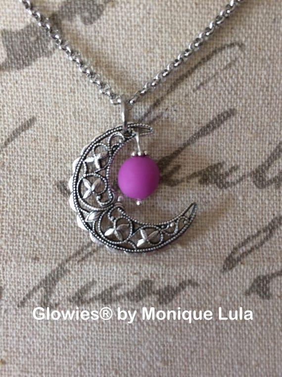 Vintage Crescent Moon Glow Necklace Glowing Violet Purple Orb Handmade Filigree Silver Handmade Magical Moon Jewelry Glow in the Dark Moon