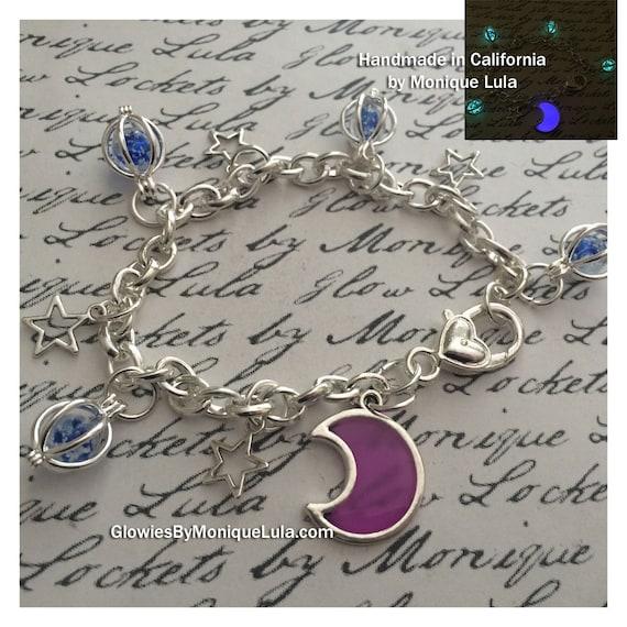 Purple Glowing Crescent Moon and Stars Galaxy Link Charm Bracelet Magic Blue Luna Celestial Heart Glow in the Dark Space Glowies Jewelry