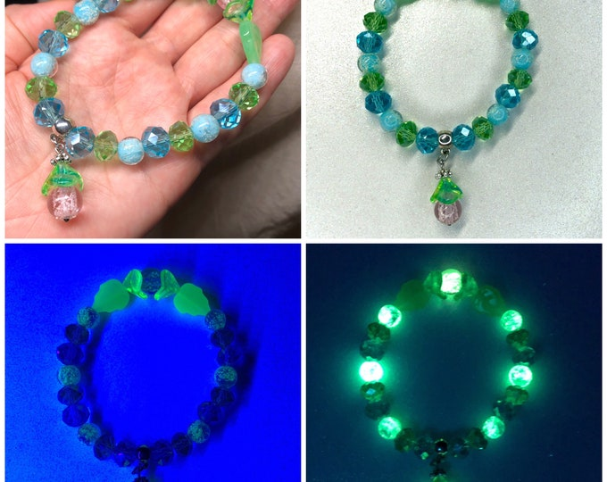 Uranium Glass and Glowies Beaded Crystal Bracelet