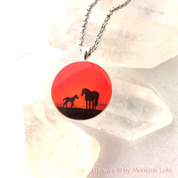 Horses at Sunset Glow Art Necklace