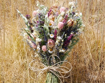 Dusty Pink, White Sage, Lavender, Blush, Eggplant Bridal Wedding Brides Bouquet Summer Natural Rustic Dried Flowers