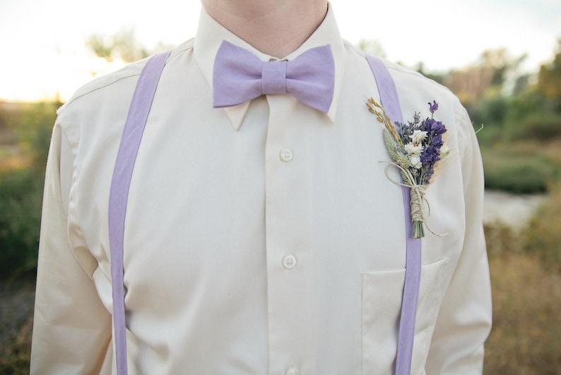 Wildflower Wedding Boutonniere or Corsage of Lavender Larkspur image 0