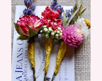 Dried Flower Hair Pins in Bright Colors Brides, Bridesmaids, Flower Girls, Flower Fairies and those that love to wear Flowers in their hair