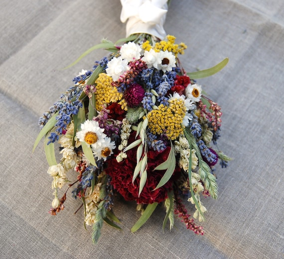 Romantic Montana Bridesmaid Bouquet of  Lavender and Burgundy Peonies, Dried Flowers, Grasses and Grains