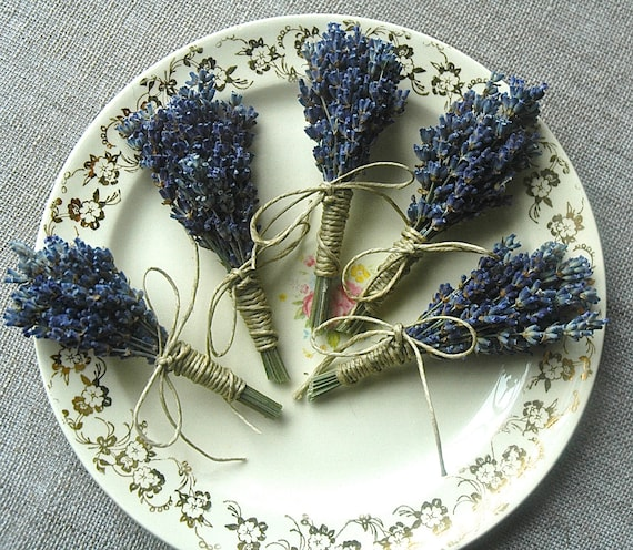 4 Fat Lavender Boutonnieres or Corsages with Custom Hemp Twine or Ribbon