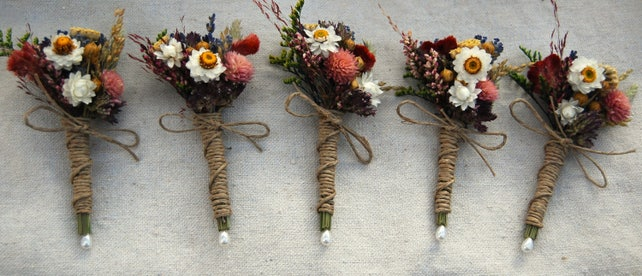 5 Romantic Montana Fall Boutonniere  Pin On or Wrist Corsage of Multi Colored Dried Flowers, Grasses and Grains by paulajeansgarden