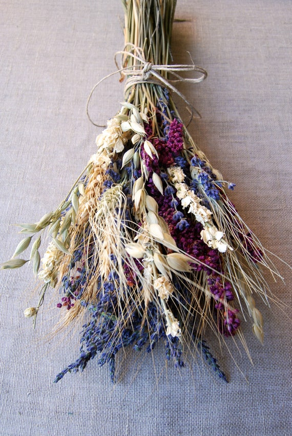 Ivory Lavender Kiss Me Wheat Dried Flower Wedding Bouquet for   Etsy