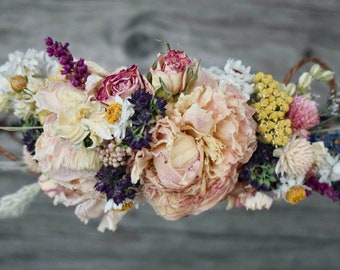 Dusty Blush Pink and Lavender Blue Brides Wedding Flower Crown or Comb French Lavender Pink & Burgundy Peonies, Dried Flowers