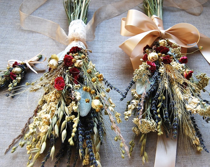 Custom Wedding Package Fall Winter Holiday Brides Bridesmaids Flower Girl Bouquets Dried Lavender Gilded Grains Larkspur Spray Roses