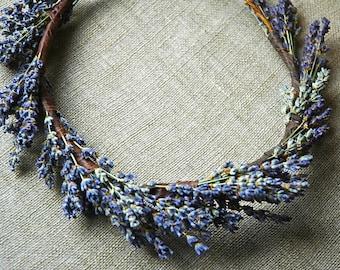 Lavender Flower Crown Circlet Halo Dried Flower for Brides, Flower Girls, Weddings Bridesmaids, Flower Fairies