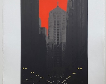 Lasalle St. (red)--limited edition original screenprint
