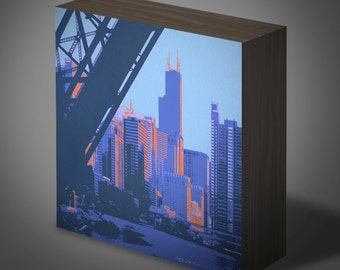 Chicago River II--6x6 panel print