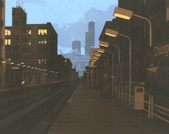 6pm--Chicago Avenue Station archival print 7x10 with 11x14 mat