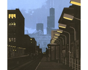 6pm III--Chicago Avenue Station archival print 5x5 with 8x8 mat