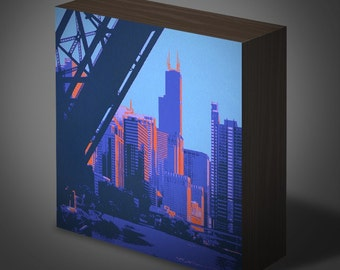 Chicago River II in 6 in x 6 in wood panel print