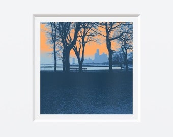 Lakefront--archival print with 12x12 mat (New)