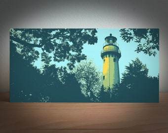 Gross Point Light (blue) -- 12x6 inch precision crafted wood panel print